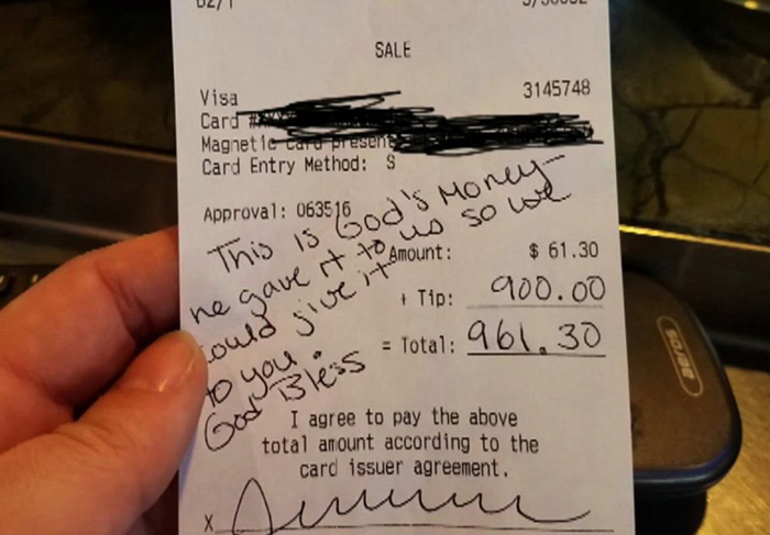 waitress 900 tip good news