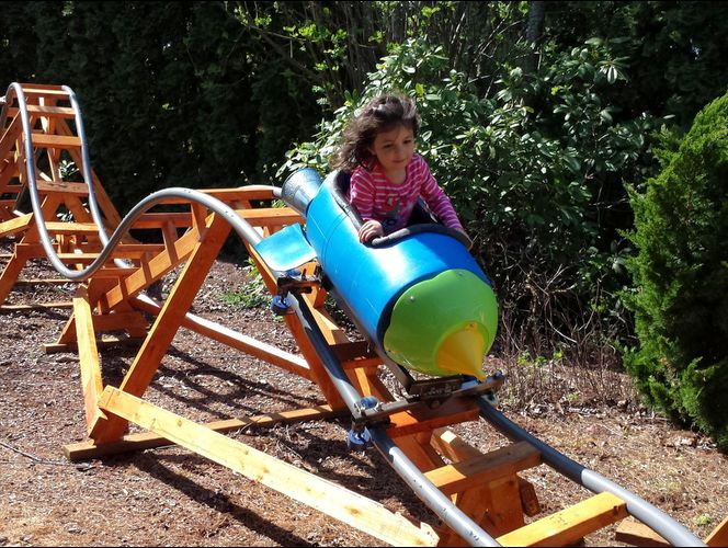 grandpa builds backyard roller coaster grandkids