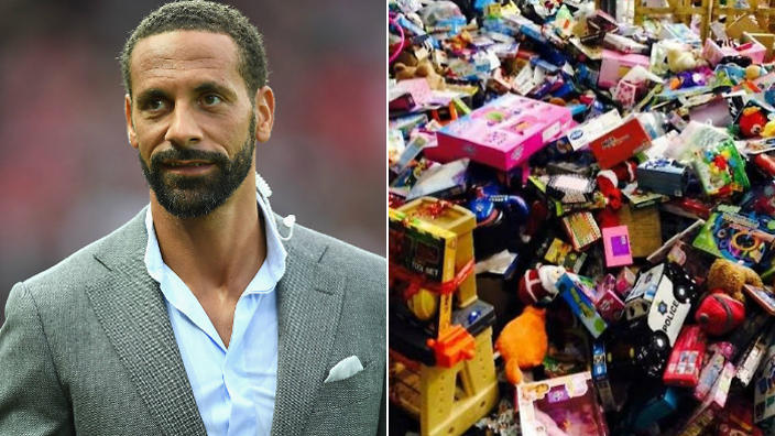 soccer player ferdinand donates toys sleeping bags