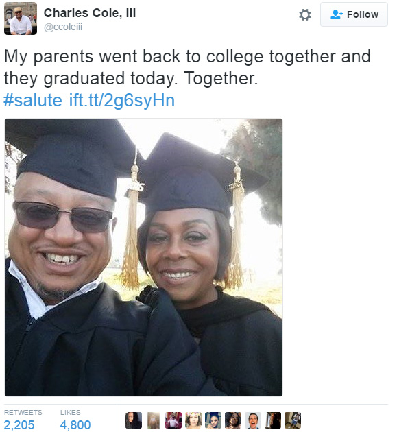 on proud of parents graduating college together