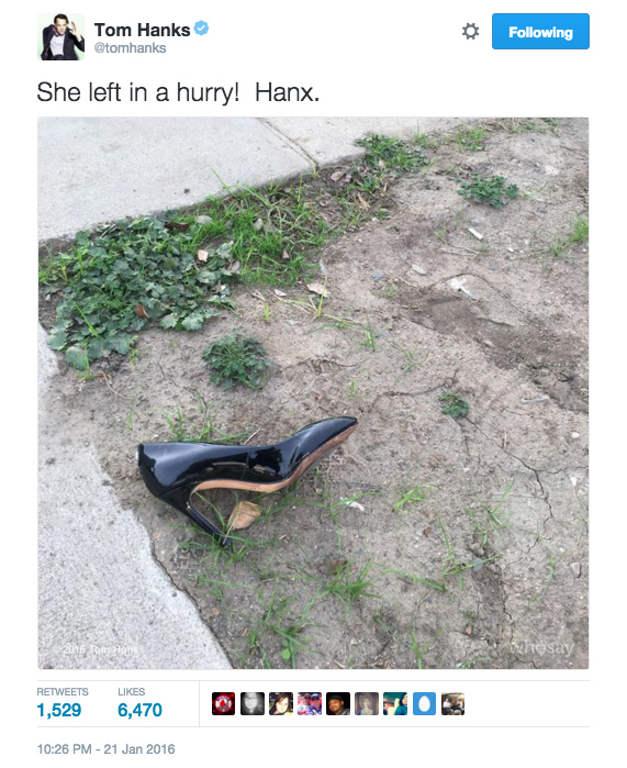 Tom Hanks twitter lost and found