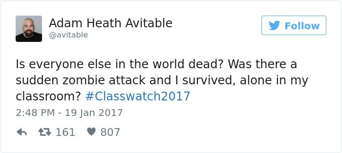 professor tweets no students show to class