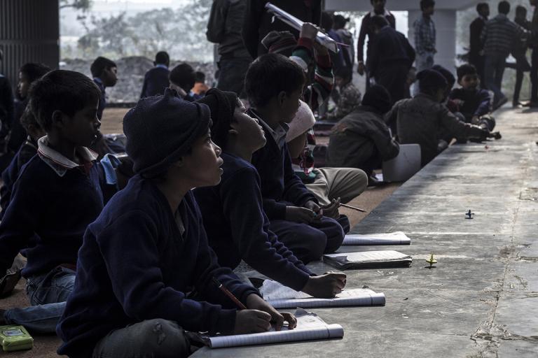 free school under the bridge slum kids India