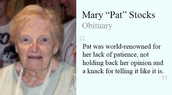 funny obituary mary pat stocks