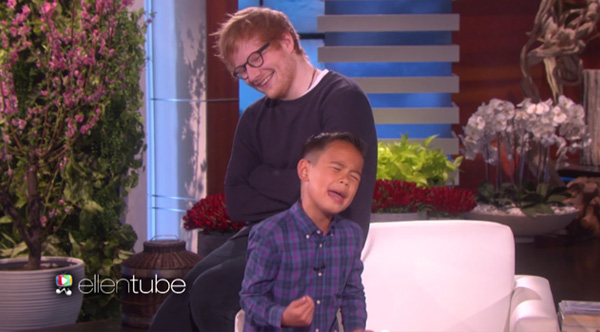 He 39 s singing an ed sheeran song for ellen then his - Ed sheeran give me love live room ...