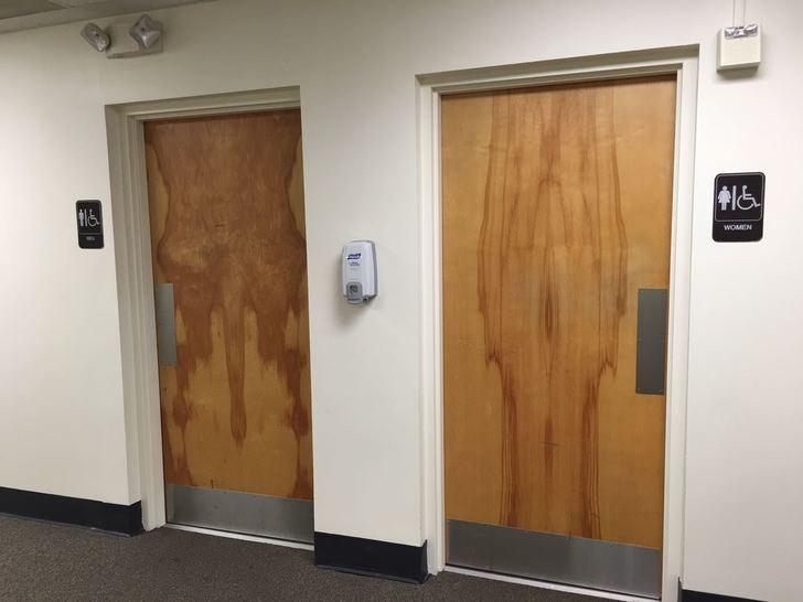 wood pattern in bathroom doors looks like penis and vagina