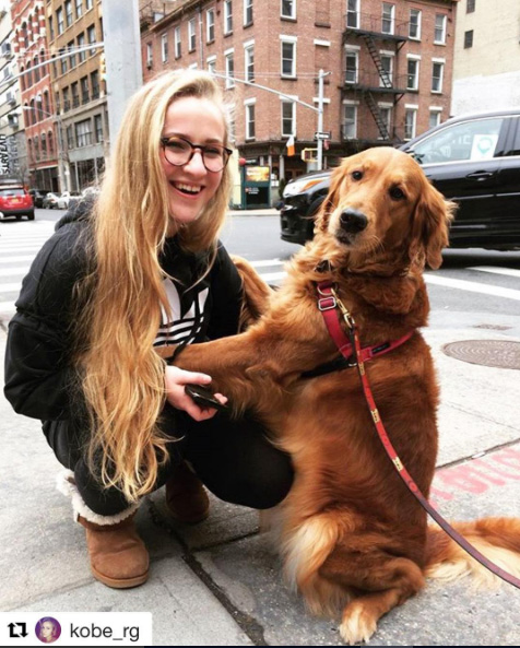 dog in NYC gives hugs to everyone