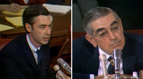 The Senator Is Rude To Mr Rogers By The End Of His Speech He S In Awe Of Him