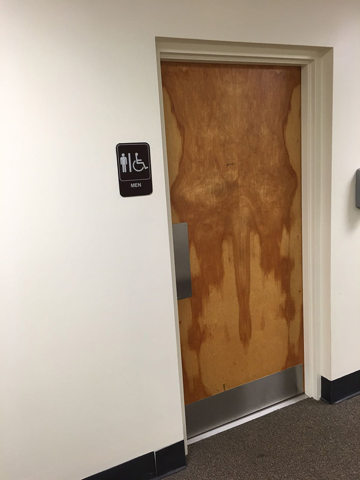 Bathroom Doors woman shares photos of the bathroom doors in her company's new
