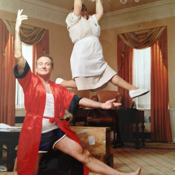 robin williams housekeeper hanging from chandelier