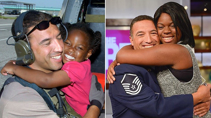 Katrina girl hug takes rescuer to dance