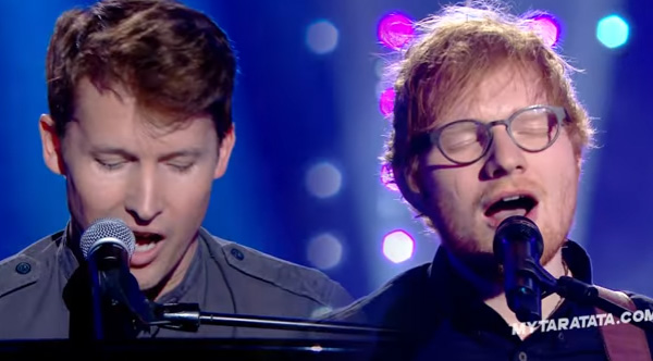 james blunt and ed sheeran singing elton john together is perfection