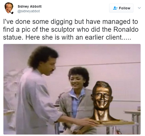 funny reactions to ronaldo airport sculpture