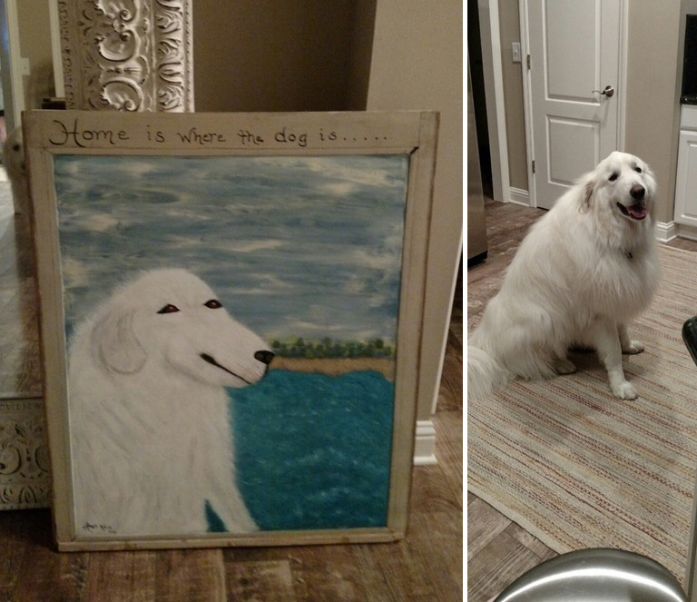 painting of dog funny and cute