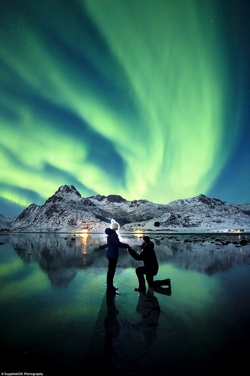 epic proposal photo northern lights