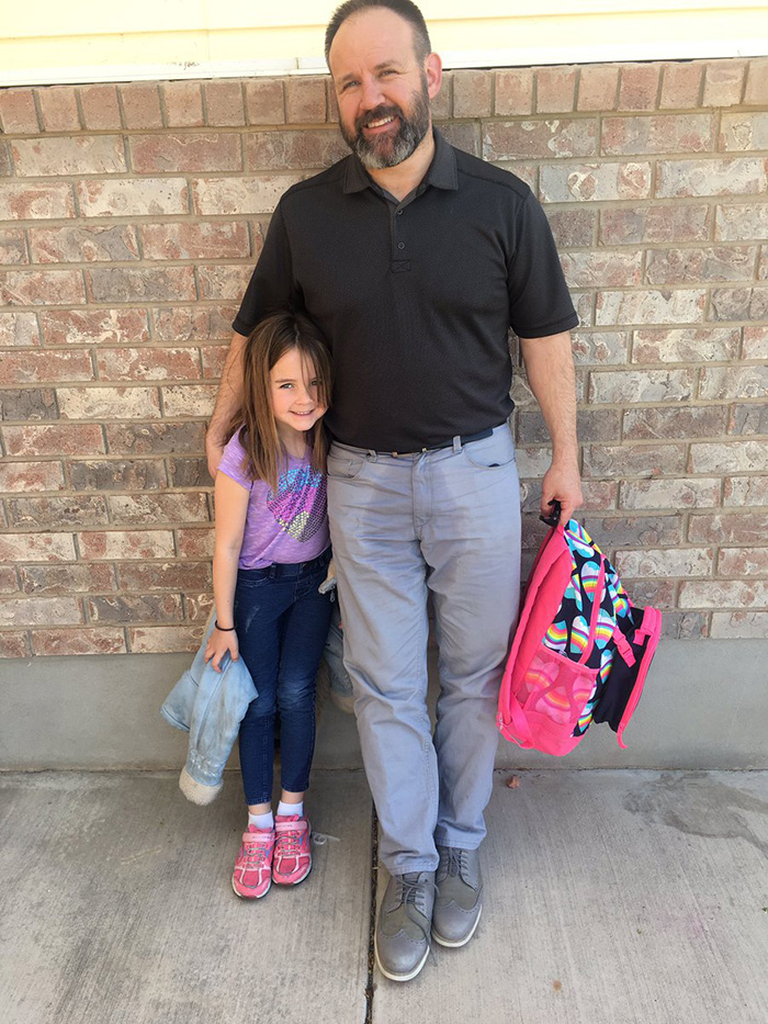dad pees wets pants to pick daughter up at school accident