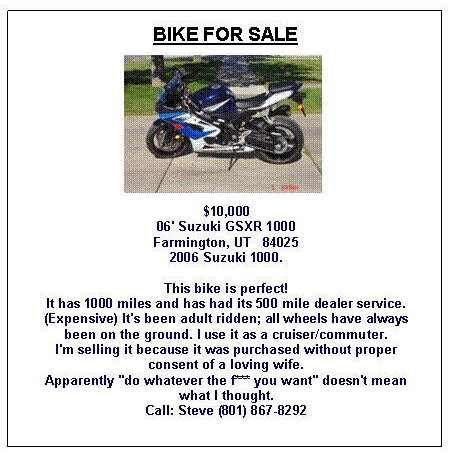Funny Craigslist Ad For Bike