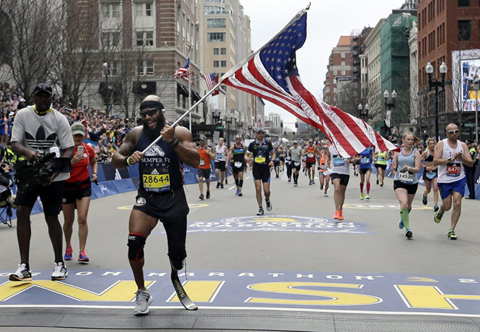 Boston marathon runner American flag one leg