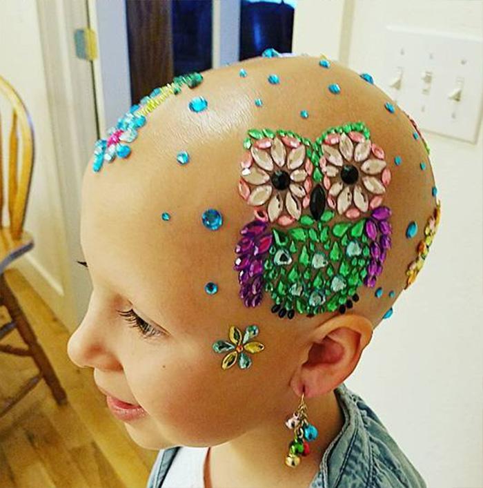bald girl crazy hair day