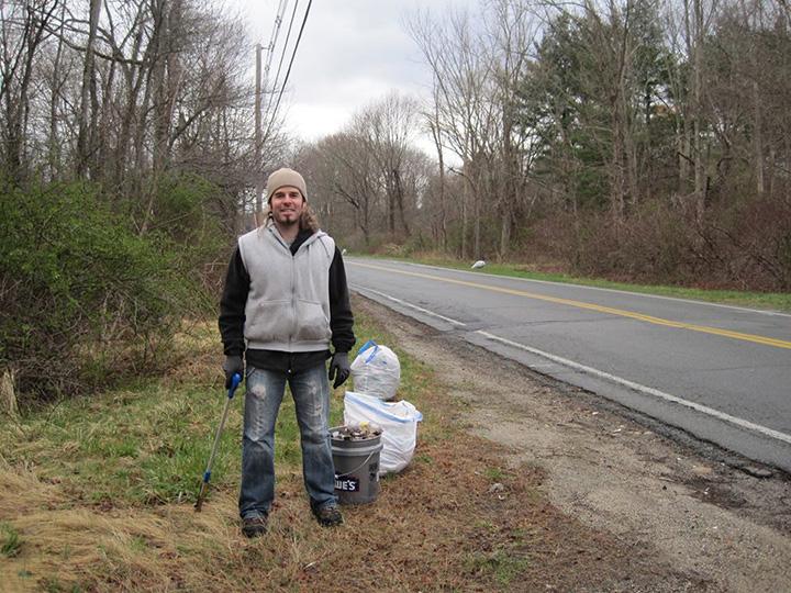 man picking up trash story