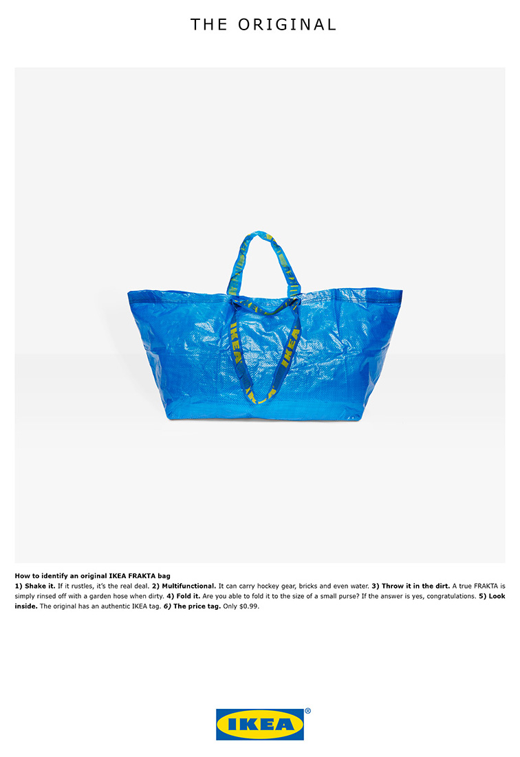 IKEA funny response to blue bag lookalike