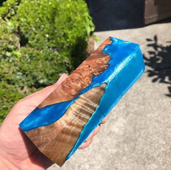 wood blended with dyed epoxy resin