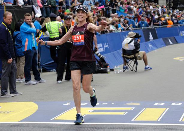 first woman Boston marathon runs again at 70