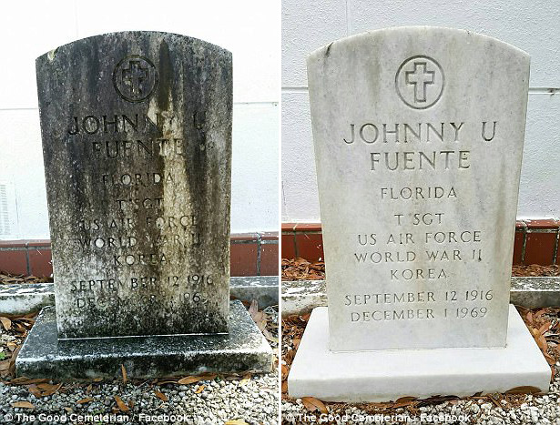 man spends days off cleaning veteran tombstones