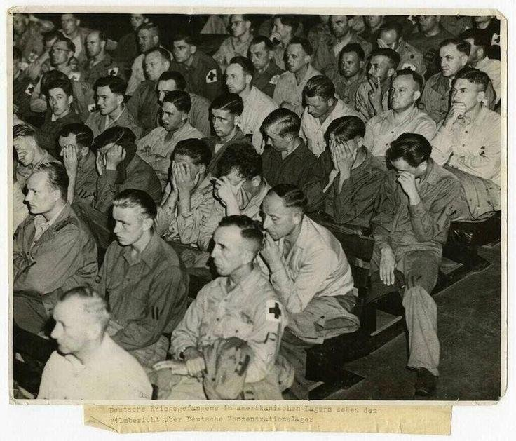 German soldiers react to footage of concentration camps