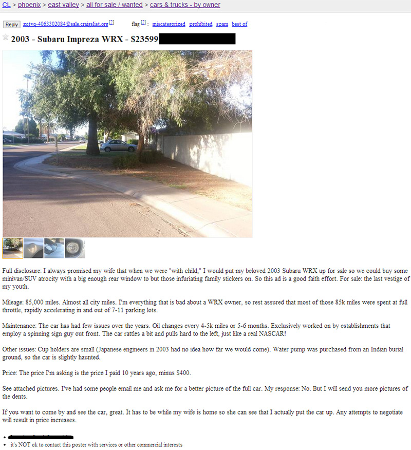 husband has to sell car funny craigslist ad haunted