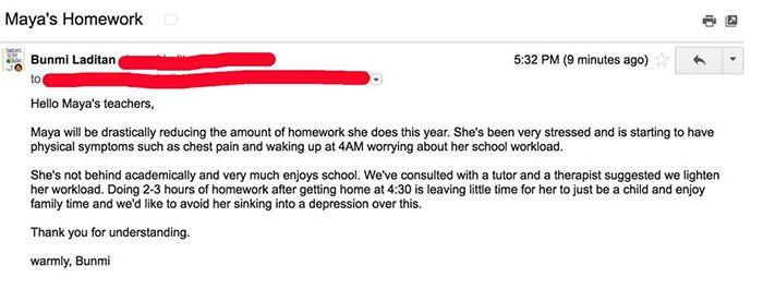 mom viral no homework email