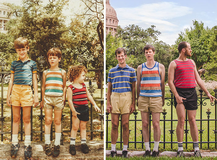 siblings recreate old photos funny