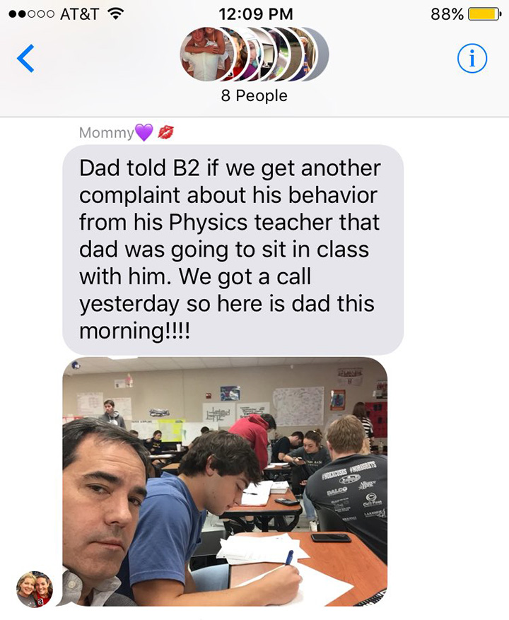 dad joins son in class funny