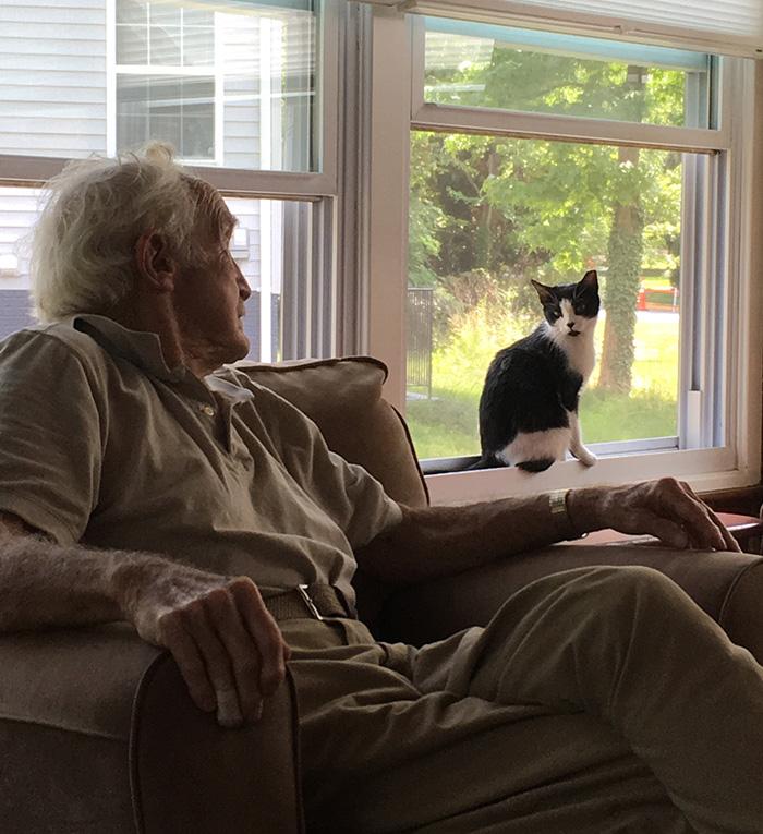 grandpa with cat