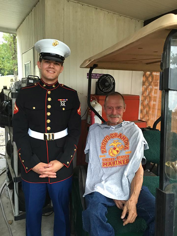 Disabled Former Marine Meets His Grandson in Uniform for the first time after 2 years