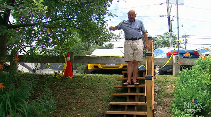 man builds stairs for park after huge estimate