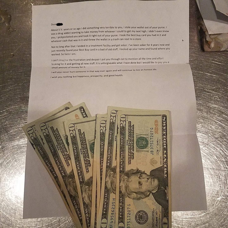 letter from ex drug addict with money woman he robbed