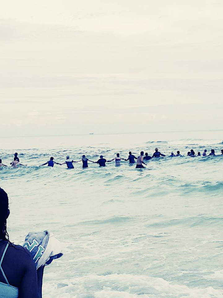 human chain rescue beach panama city