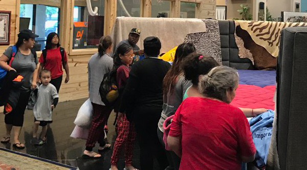 houston furniture company turns stores into shelters for residents stranded by hurricane