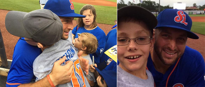 tebow greets boy with autism hits home run