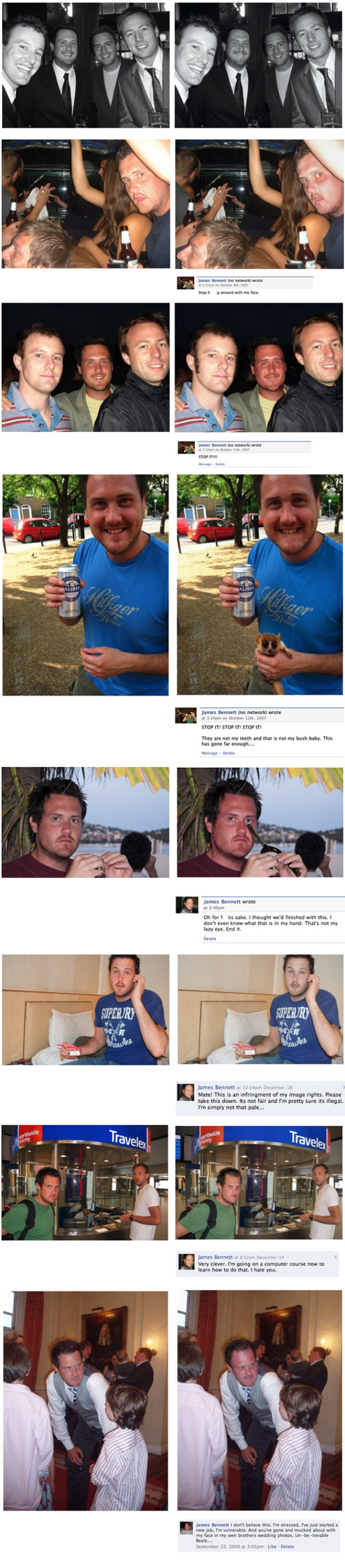 guy changes his friends face and reposts the pictures