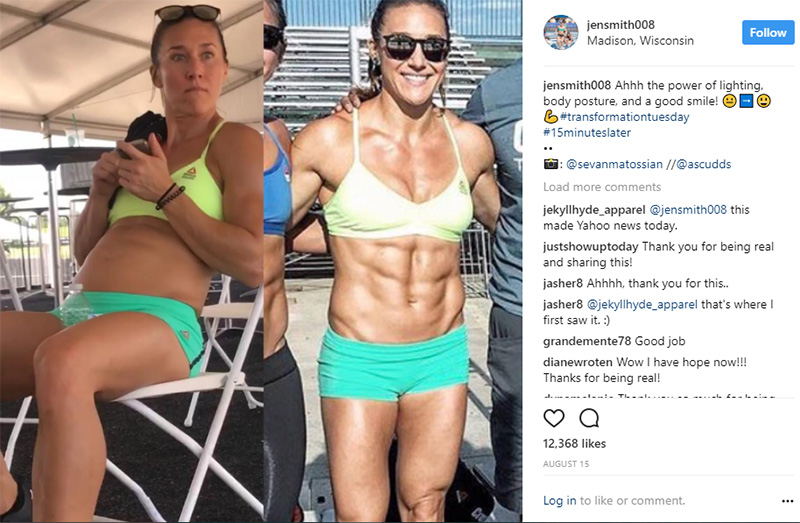 crossfit athlete shows real stomach