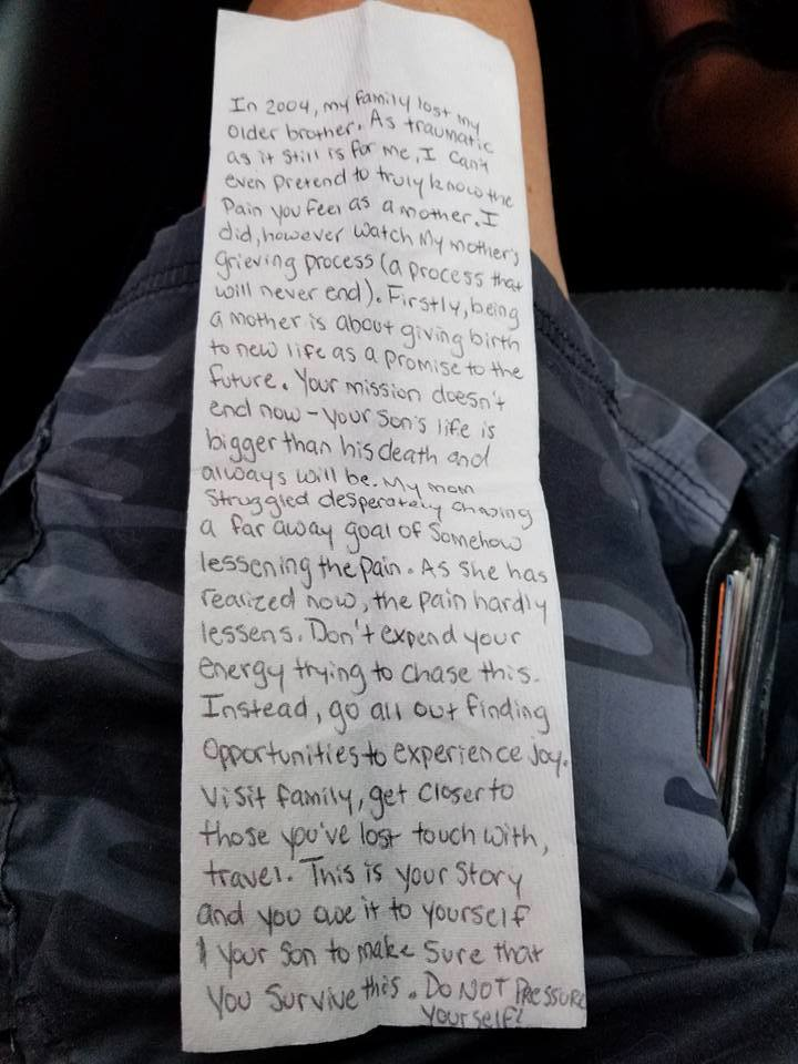 napkin letter from stranger on plane