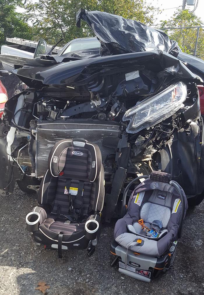 mom car seat post mangled car