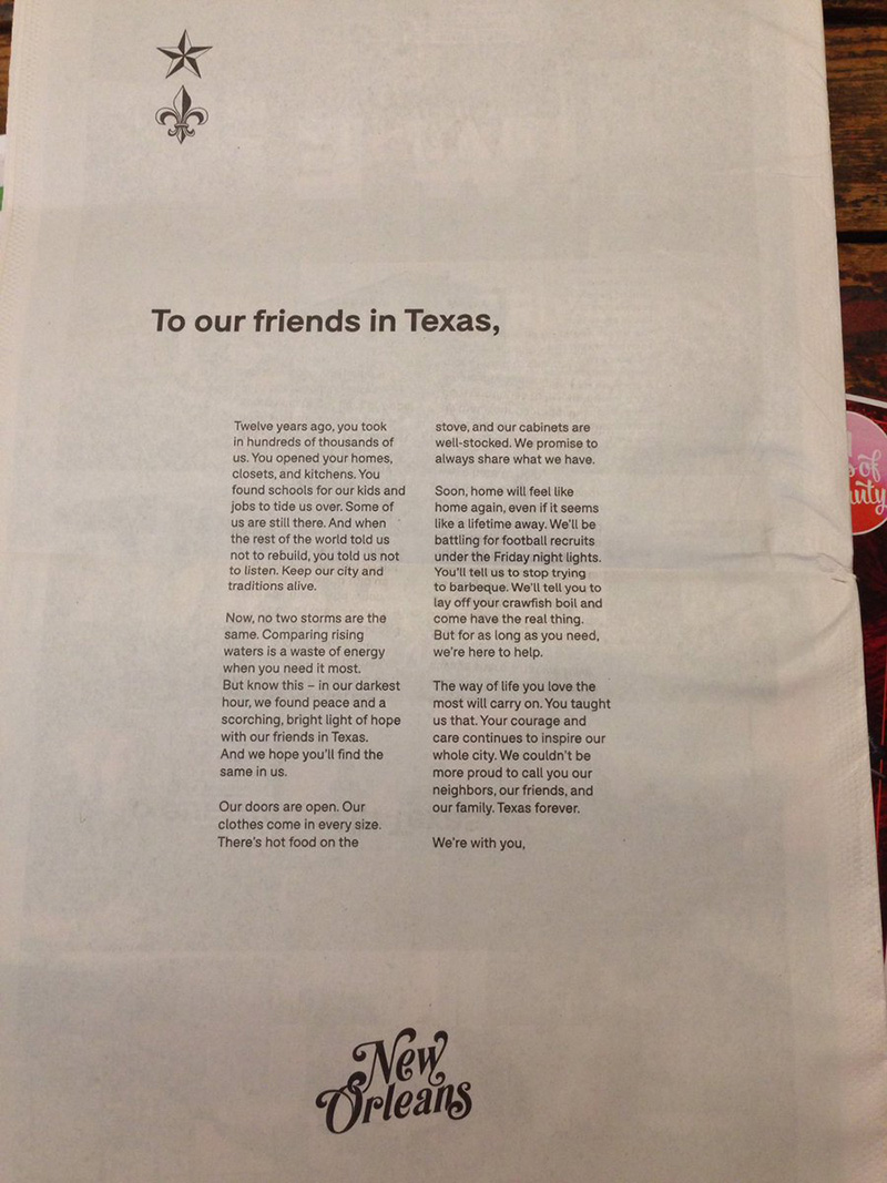 New Orleans ad in Houston newspaper