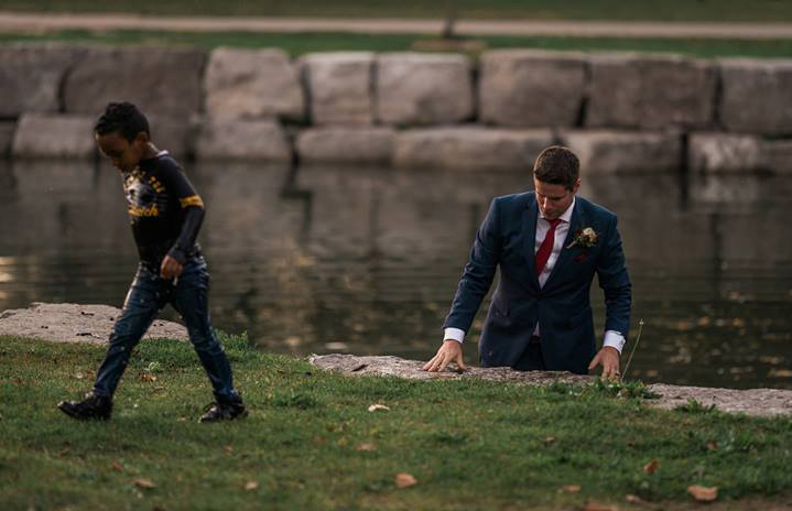 groom saves drowning boy