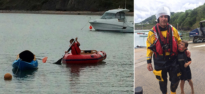 boy kayak saves people from sea
