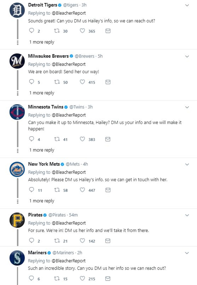 baseball teams respond to girl on twitter first pitch