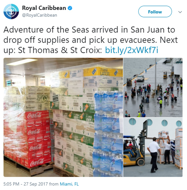 royal caribbean cancels cruise to help puerto rico