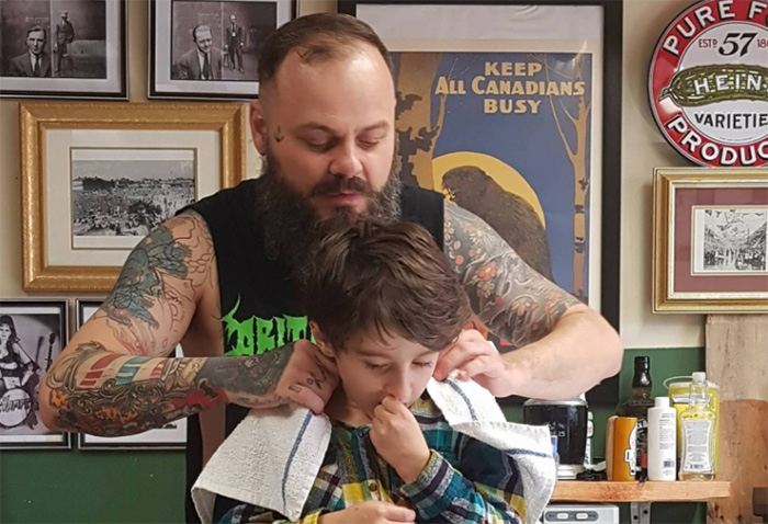 barber connection with boy autism